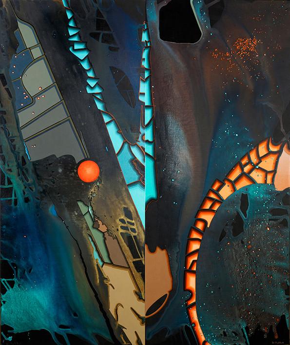 Rêve précurseur de Pandora.Diptyque.100x120
